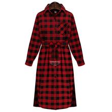 Autumn Plaid Dress Fashion Brand New  Long Sleeve Lapel  T Shirt Dress Women Plus size Clothing Casual Dress Vestidos  607-8797(China (Mainland))