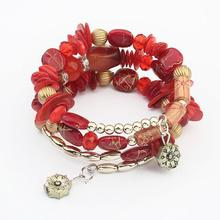 T112554 exotic ethnic style multi-layered fine bracelet ( red ) over $15 mixed order free shipping(China (Mainland))