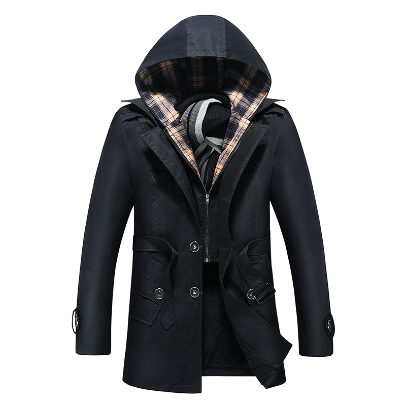 Free shipping 2015 male's fashion slim fit medium-long Men Winter warm thickening outerwear hoodie trench coat black size M-4XL(China (Mainland))