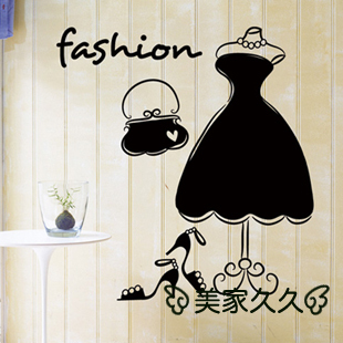 MeleStore Female Bag and Shoes Shop Wedding Dress One-Piece Dress Style Wall Stickers Window Glass Fashion Decoration Waterproof(China (Mainland))