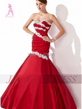 Hot Sale Sweetheart Pleat Bust Prom Dresses Red Mermaid Satin Lace Bridesmaid Dress Evening Size Color Custom Free Shipping(China (Mainland))