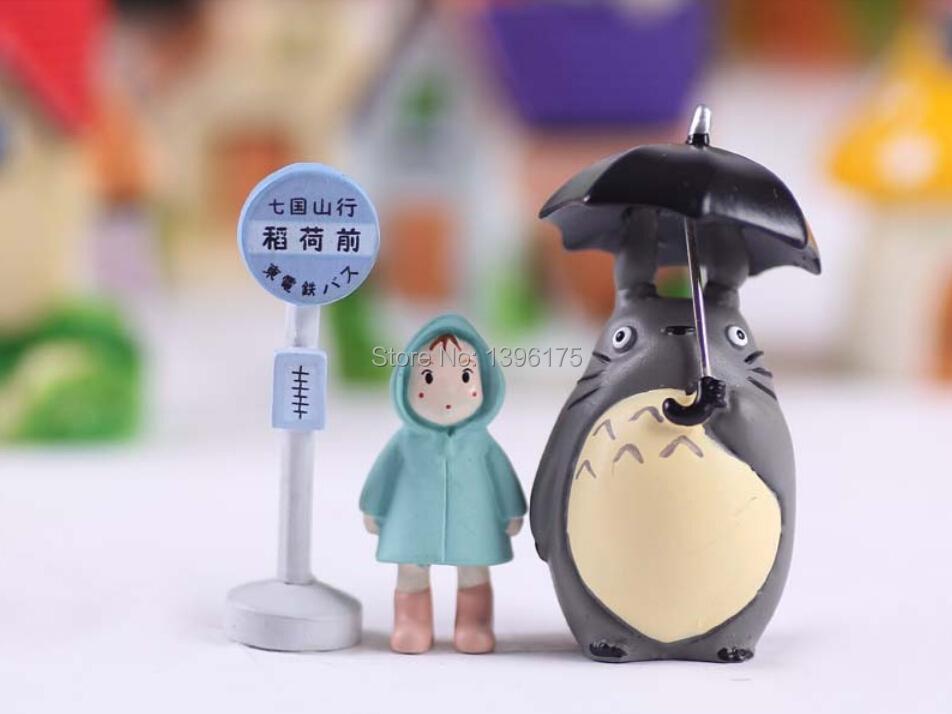 3 pcs/lot Totoro Hayao Miyazaki Classic Style Micro Landscape Gardening Potted Succulents Doll Umbrella Raincoat Xiaomei(China (Mainland))