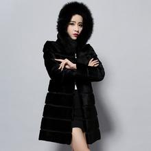 Fur Story 14140 2016 new real rabbit fur coat  with hood fox fur collar top grade fur jacket outwear winter overcoat women Dress(China (Mainland))