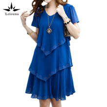 Buy Leiouna Robe Sexy Party Ladies Dresses Casual 2017 New 5xl Plus Big Size Women Clothing Black Blue Summer Fall Dress Chiffon for $13.50 in AliExpress store