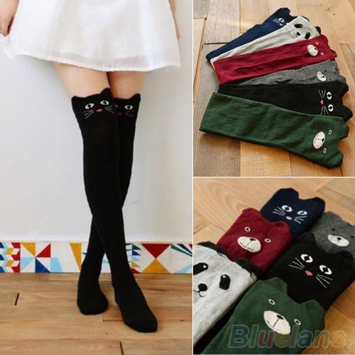 Women Cute 3D Cartoon Animal Pattern Thigh Stockings Over Knee High Socks 1PQM 1U9W 4OA6