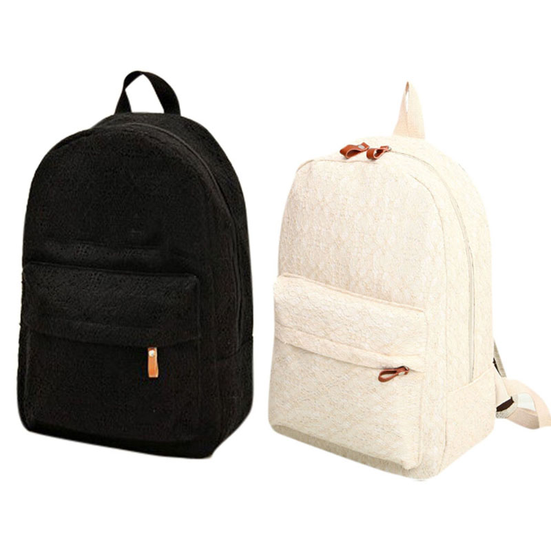 2 color cute korean style double shoulder lace book bags fashion girls women student canvas Korean style fashion girl bag
