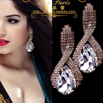 2016 Fashion accessories supercorp sparkling crystal big gold drop earrings for women long earrings wedding earrings #yf867