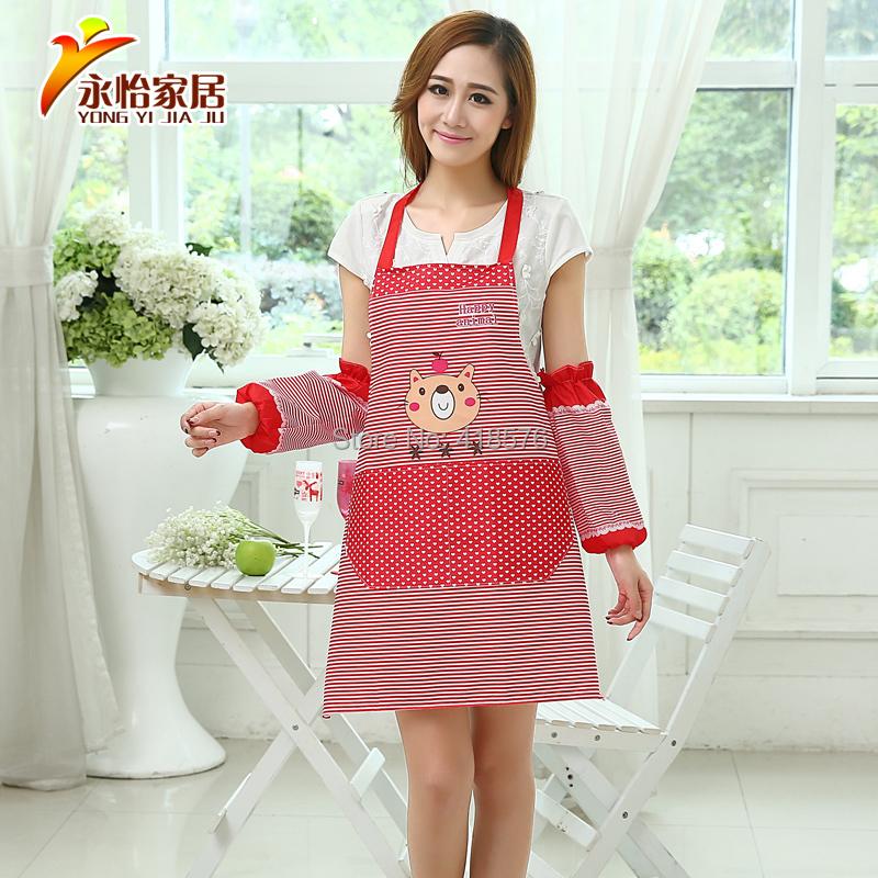 Cartoon Bear Kitchen Cleaning waterproof Raglan sleeves Oversleeve Aprons Set with Pocket Bib Apron For Woman TQ-KC032(China (Mainland))
