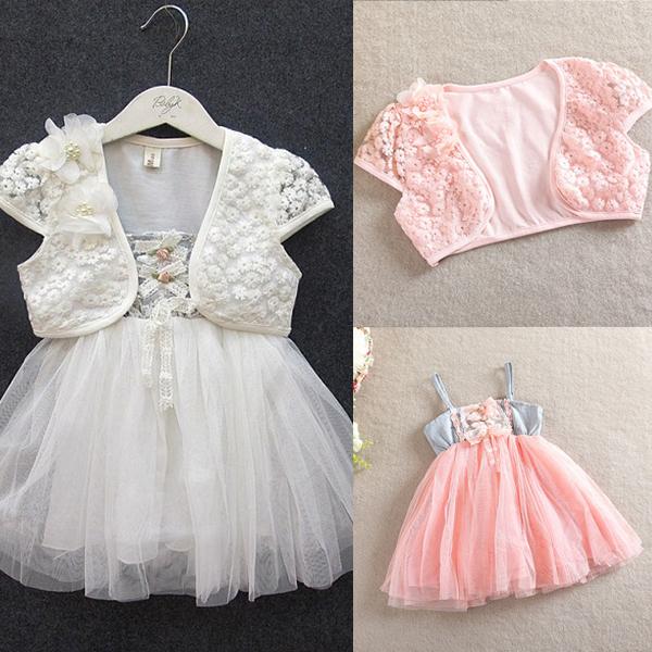HOT SALES NEW Toddler Girls 2pcs Lace Shawl Straps Tutu Dress Princess Dress 1-5Y 2 Colors Free&Drop Shipping(China (Mainland))