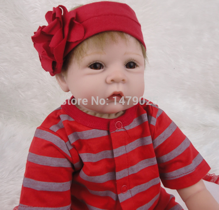 New Arrival 22'' Inches 55cm Realistic Girl Silicone Vinyl Reborn Baby Doll Kid's Toy Lifelike Handmade Baby Alive Doll Baby Toy(China (Mainland))