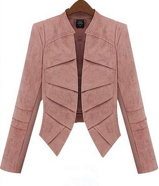 2015 Fashion New women blazers Suit Jacket long-sleeve slim blazer short blazer design Black Pink Khaki Outerwear Coats XXXL(China (Mainland))
