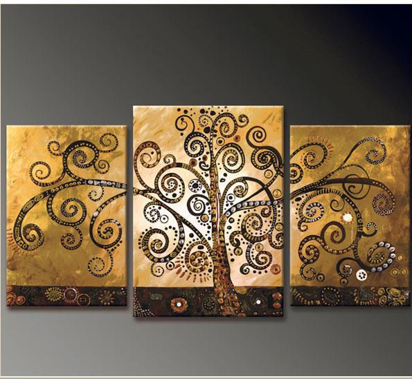 Hand Painted Canvas Abstract Oil Painting Tree Multi Panel 3 piece Canvas Wall Art Large Home