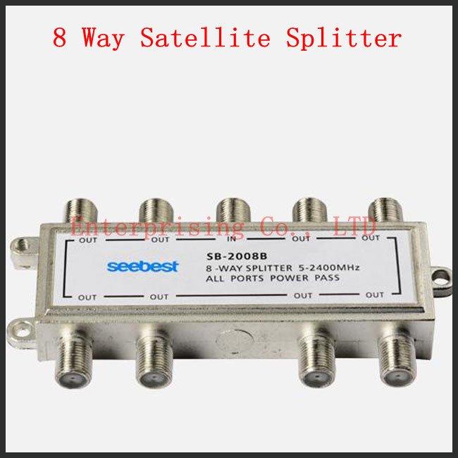 Free Shipping Satellite Splitter CATV Splitter 8 Way Satellite Splitter Low Insertion Loss High Isolation(China (Mainland))