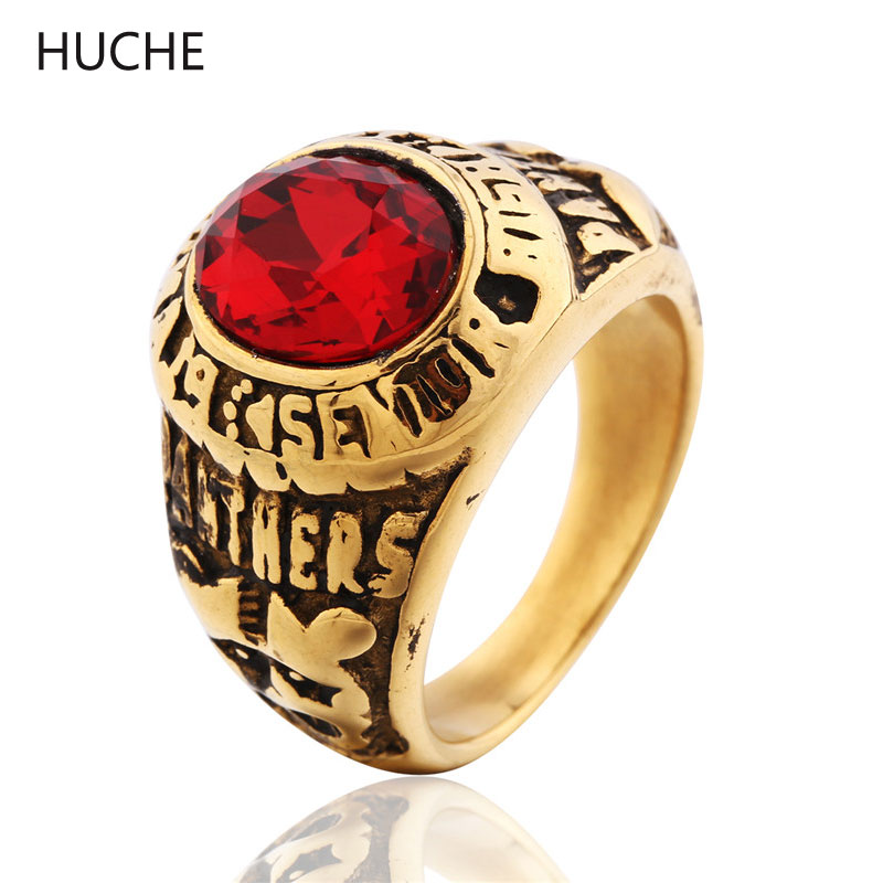 HUCHE New Arrivals 2016 Yellow Stainless Steel Partner Rings for Mens Punk Style Oval Ruby Gemstone Ring Imitation Jewelry BR052()
