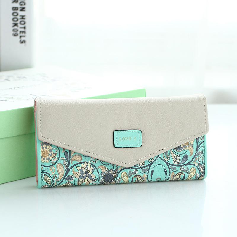 Fashion Coin Purse Floral Women Wallet 5 Colors Flower Long Wallets Popular Change Purse Delicate Casual Lady Cash Purse(China (Mainland))