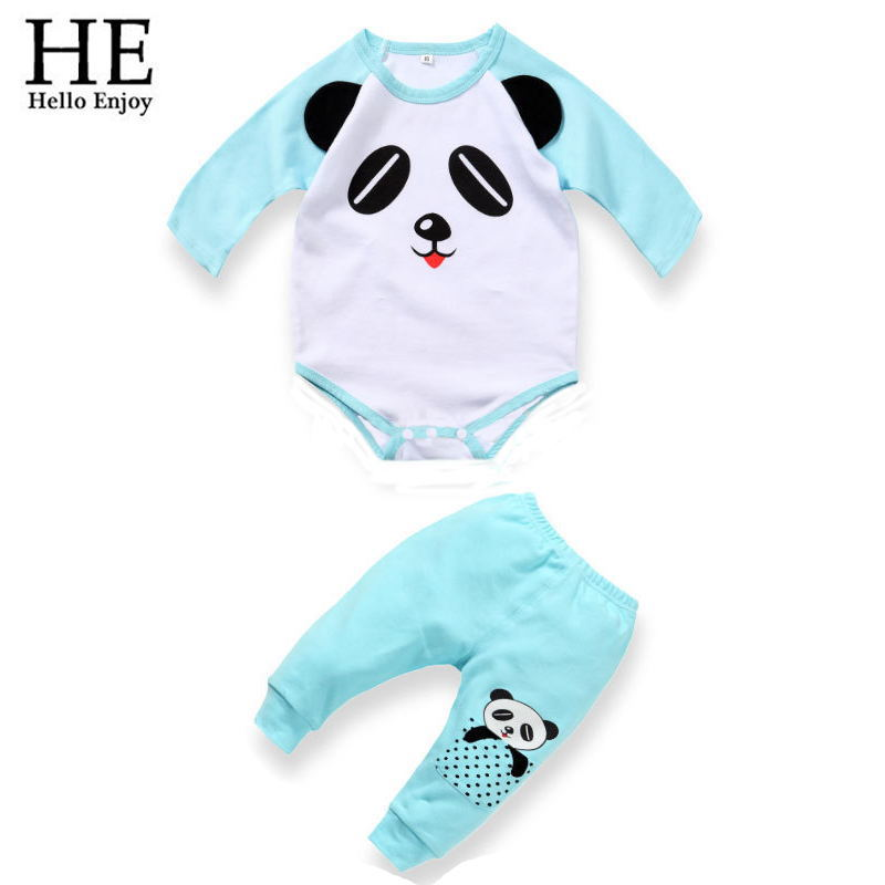 HE Hello Enjoy 2016 Autumn Baby Boy clothing set cotton long-sleeved panda T-shirt+ trousers newborn baby girl clothes - official store