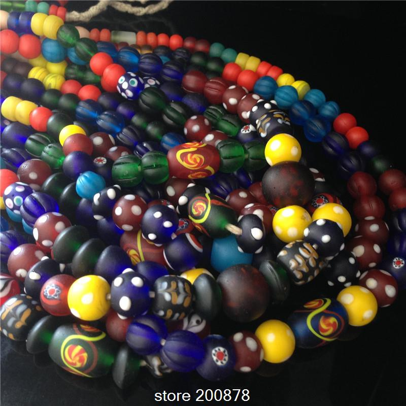 Wholesale Nepal handmade Acient Glass Mixed Colorful Beads Strand 5-15mm Tibet Colorful Glass Beaded Necklaces 50cm Free Shipp<br><br>Aliexpress