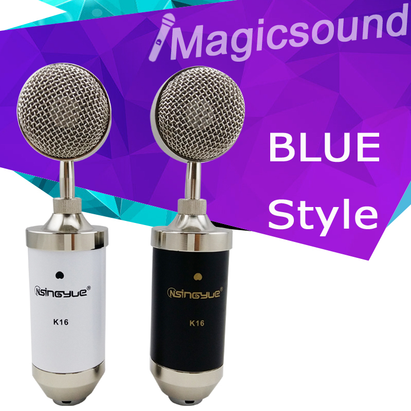 Excellent Audio Processing Condenser Microphone Vogue BLUE Style BLA Recording & Broadcasting Mic with Shock Mount,Black/White(China (Mainland))