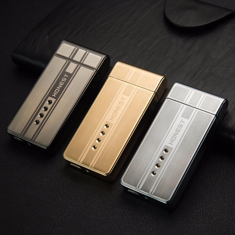 ถูก 10ชิ้น/ล็อตเย็นUSB arcเบาisqueiroเป็นของขวัญคริสมาสต์สำหรับผู้ชายควันบุหรี่เครื่องมือ6สไตล์windproofเบากับของขวัญกล่อง