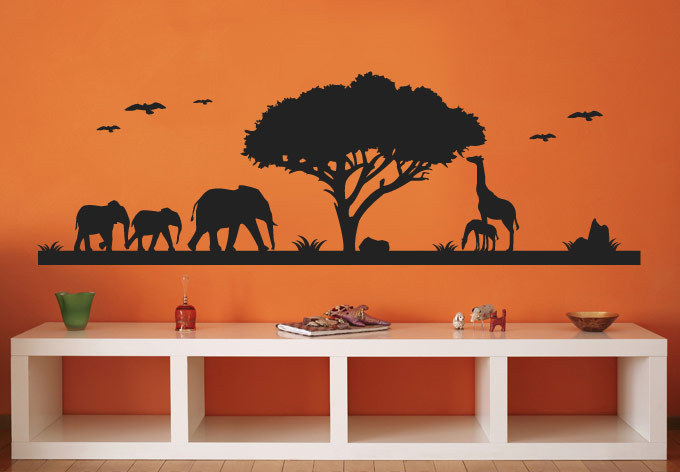 Nature Forest And Animals Elephant Giraffe Wall Stickers Vinyl Tree Decals For Living Room Decoration