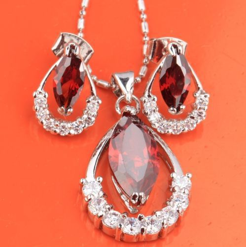 Fine Jewelry Hot Sale Classic Women 2015 New Arrival Details About Attractive Garnet Topaz Cz Jewelry Set Earring Pendant B8538(China (Mainland))