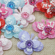 30pcs Butterfly Padded Flowers Party Wedding Sewing Appliques Crafts B086(China (Mainland))