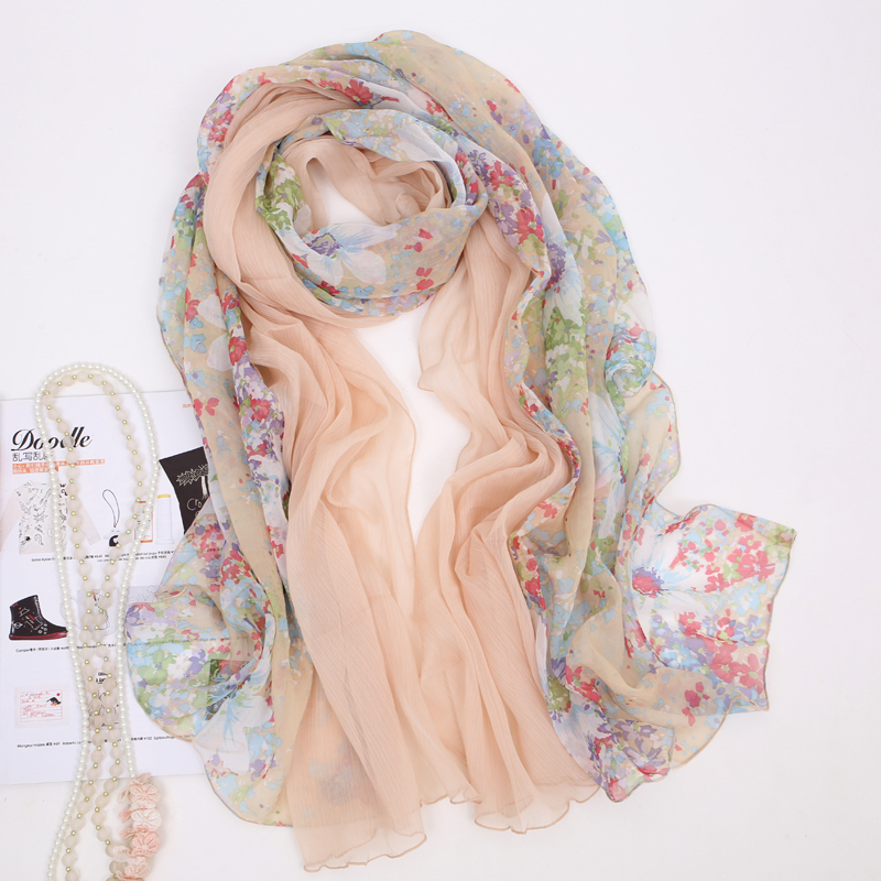 Patchwork long silk scarf female autumn and winter scarf thermal cape 1500(China (Mainland))