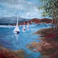 Sight of Sail Boats on the Lake Surface Hand Painted in Impressionist Style With Changing Texture