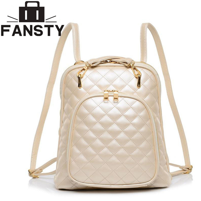 Fashion women's shoulder bag Quilted beige leather back pack college brand laptop Backpack female school bags for teenage girls(China (Mainland))