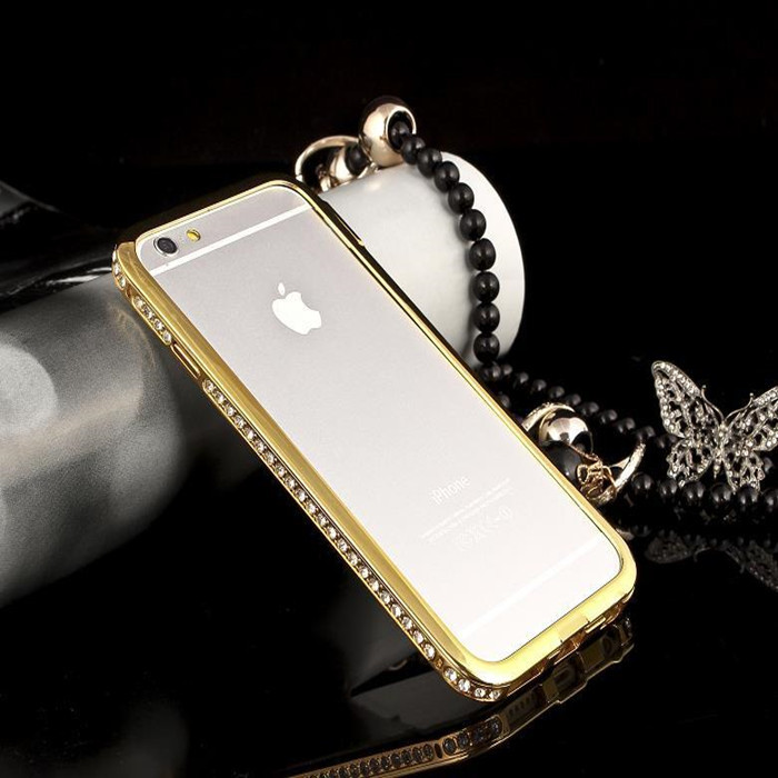 Fashion Luxury Diamond Bling Frame Case for iphone 6 4.7inch Crystal Aluminum Bumper For iPhone Apple 6(China (Mainland))