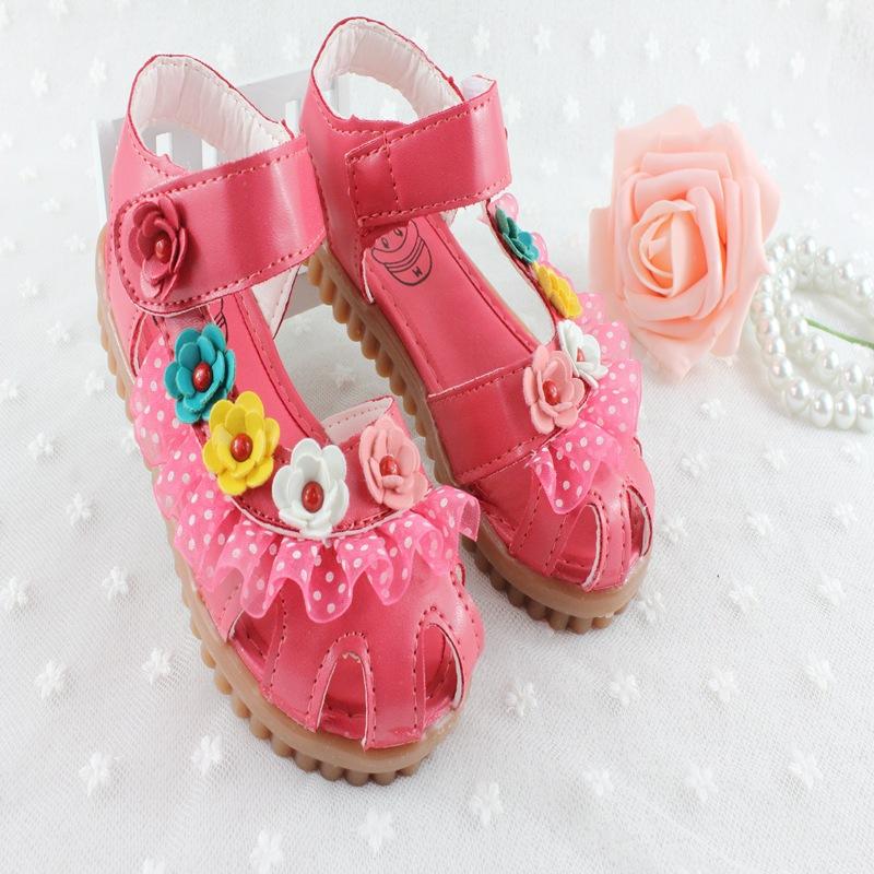 Девушки сандалии принцесса обувь цветы дети обувь дети мода sandalias для девочек sapato infantil menina 2015 лето