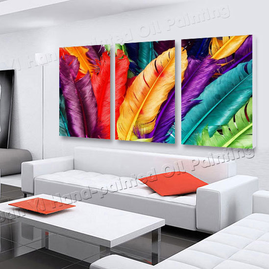 Buy 3 panel modern printed feather for Cuadros clasicos para sala