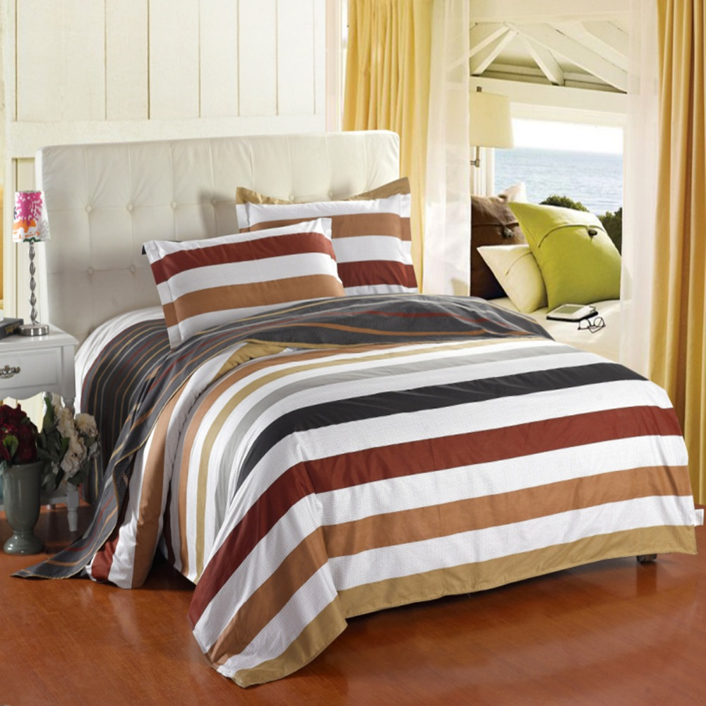 home textile 4pcs bedding set flat sheet 100 cotton quilt cover pillow duvet king size queen. Black Bedroom Furniture Sets. Home Design Ideas