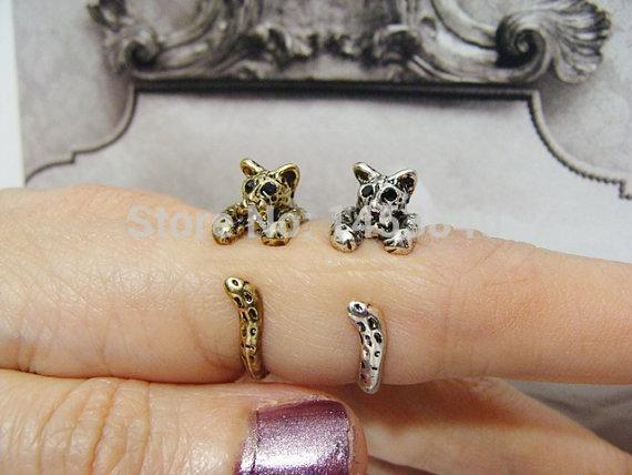2015 Newest fashion Wholesale Panther Ring, Leopard Ring, Free size Retro Burnished Animal Wrap Rings (12pcs/lot)(China (Mainland))