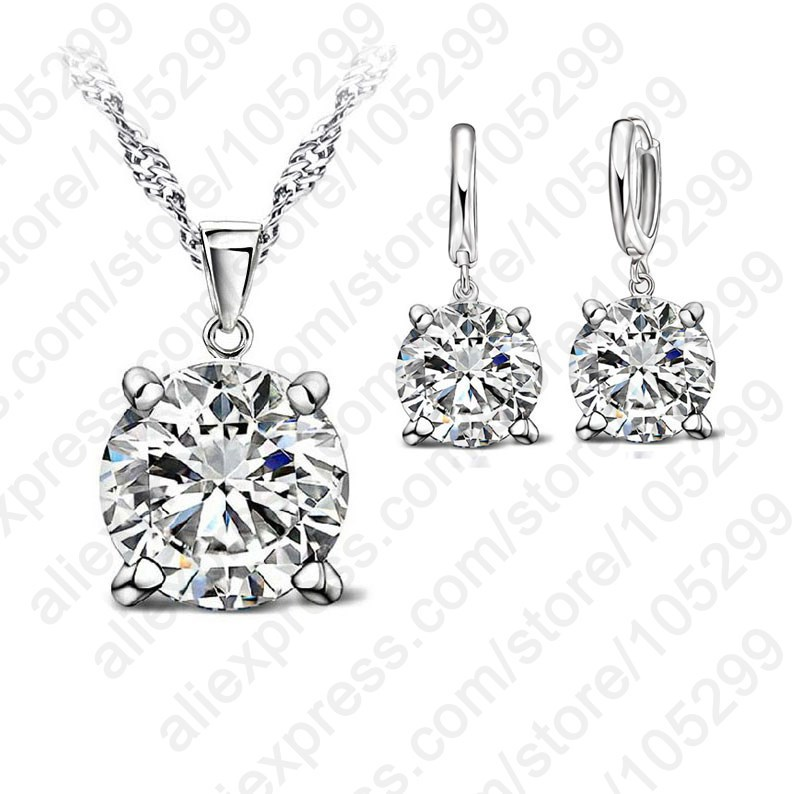 Fashion Austria Crystal Earrings Necklace Jewelry Sets Classic Wedding Dress 925 Sterling Silver Fashion Pendant Necklace(China (Mainland))