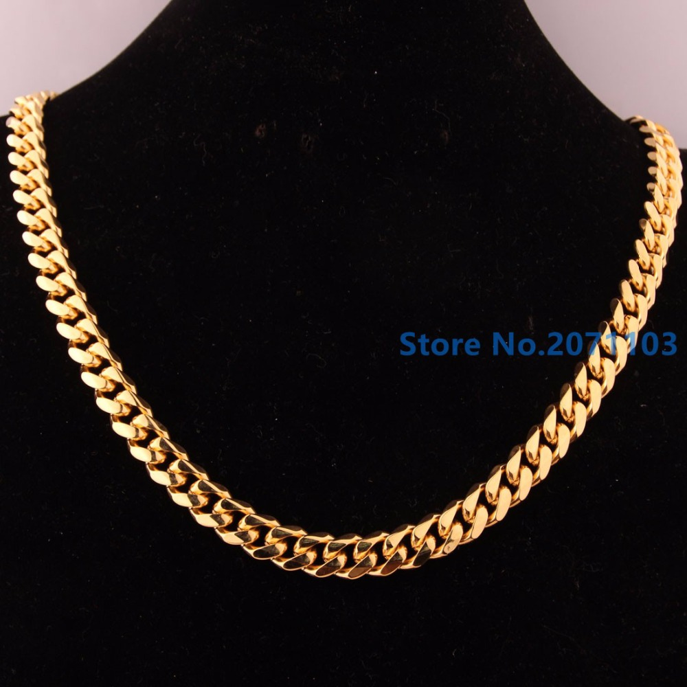 New Arrival Casual 18K Gold Cuban Curb Chain Necklaces 316L Stainless Steel Braided Chains Necklaces Men's Boy's 10mm Jewelry(China (Mainland))