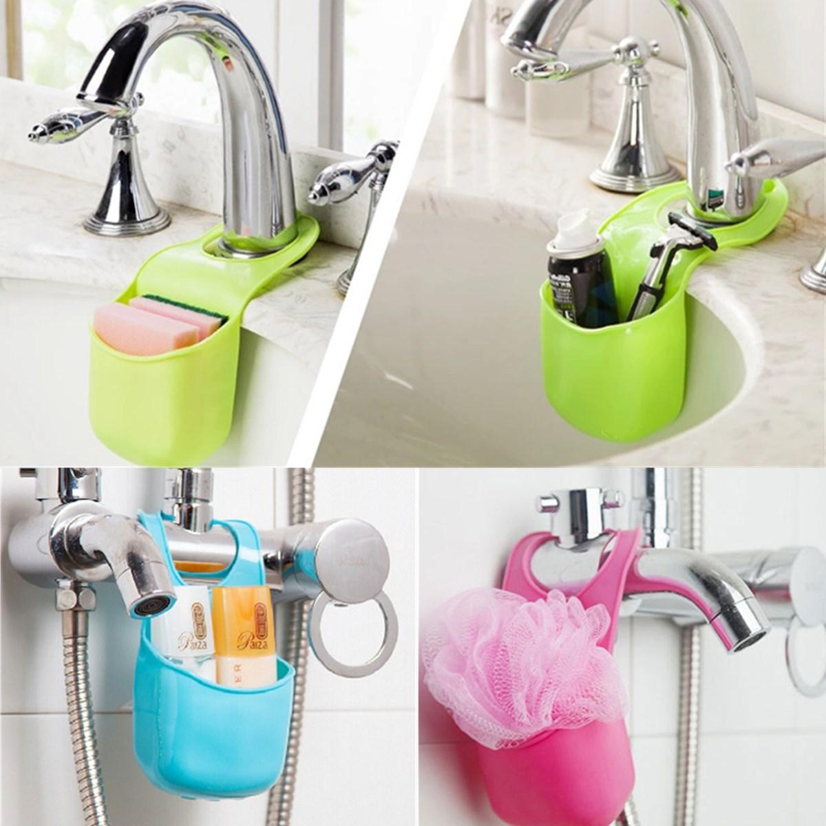 New Novelty Button Design Kitchen Sink Bathroom PVC Hanging Strainer Organizer Sponge Holder Dryer Bag 3Colors Sent Randomly(China (Mainland))