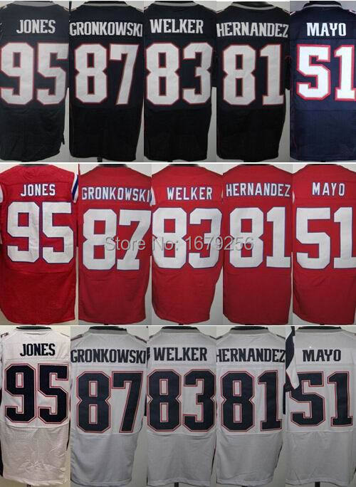 Cheap mens 95 Chandler Jones 87 Rob Gronkowski 83 Wes Welker 81 Aaron Hernandez 51 Mayo red white blue elite football Jersey(China (Mainland))