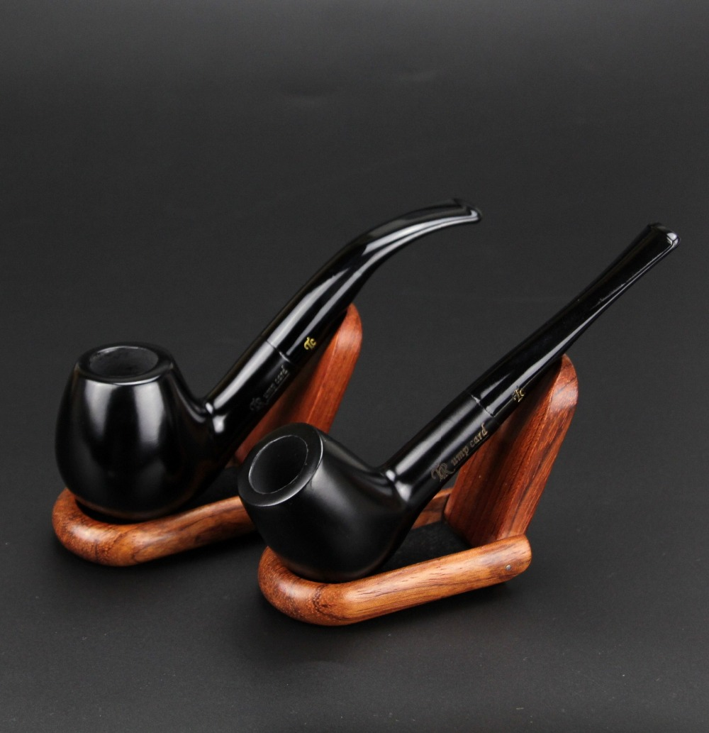 2 Pipes Sale Solid Black Smoking Pipe Ebony Wood Tobacco Pipe 9mm Filter Straight and Bent Pipe Set GT009(China (Mainland))