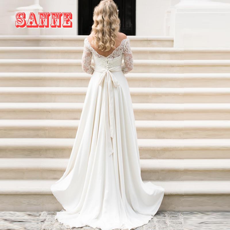 A line wedding dress 2016 lace bohemian bridal gowns for Vintage off the shoulder wedding dresses