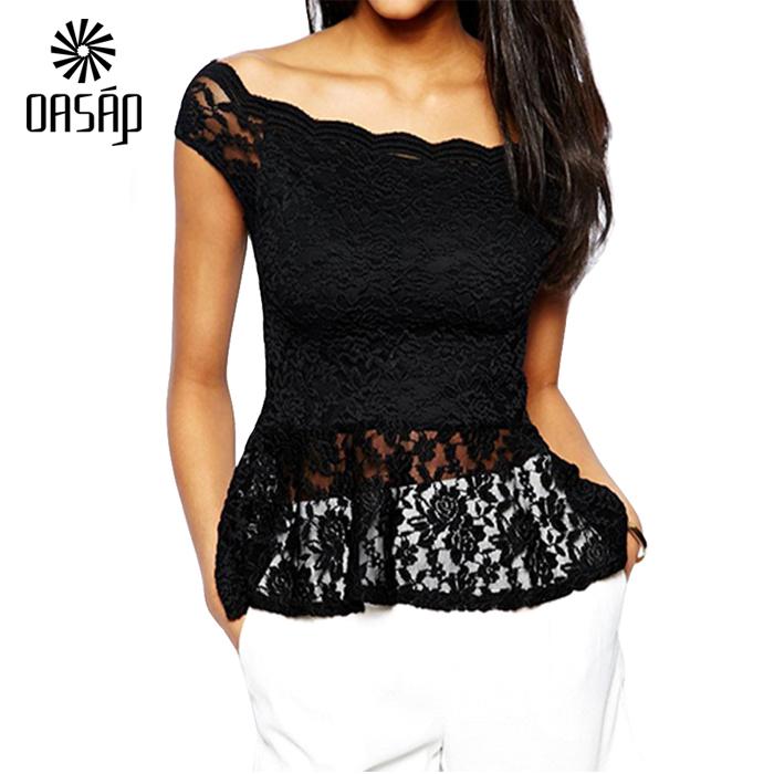 OASAP Women Black off-shoulder Lace Peplum  Shirt Top Blusas De Renda Feminino Top Cropped-60716Одежда и ак�е��уары<br><br><br>Aliexpress