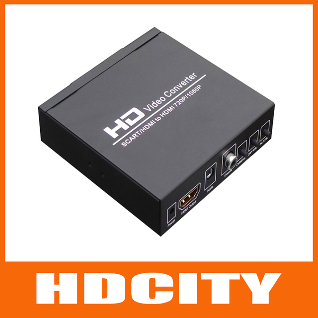 New SCART to HDMI Video Audio Converter 3D Compensation 1080P Wii Sky VHS HDTV Free shipping