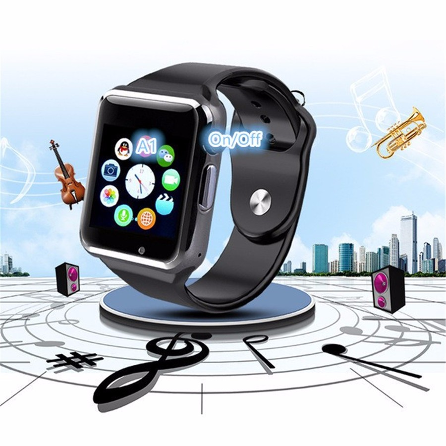 2016 New A1 Bluetooth Smart Watch Wrist Watch Men Sport Watch For Android Phone 0.3Mp Camera SIM+TF Card Slot 450Mah Battery