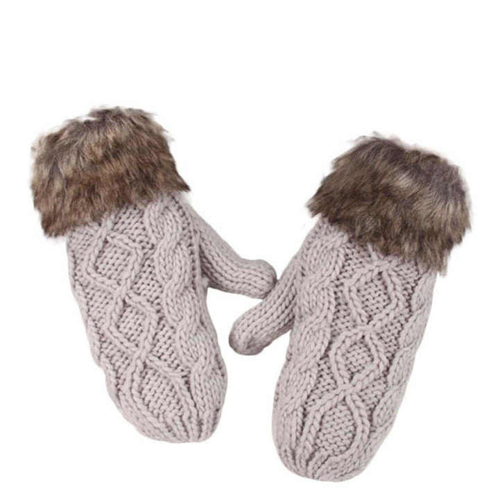 Delicate Lovely Women Double-Deck Wool Hang Neck Mittens Knitted Warm Fur Gloves Hot Selling(China (Mainland))