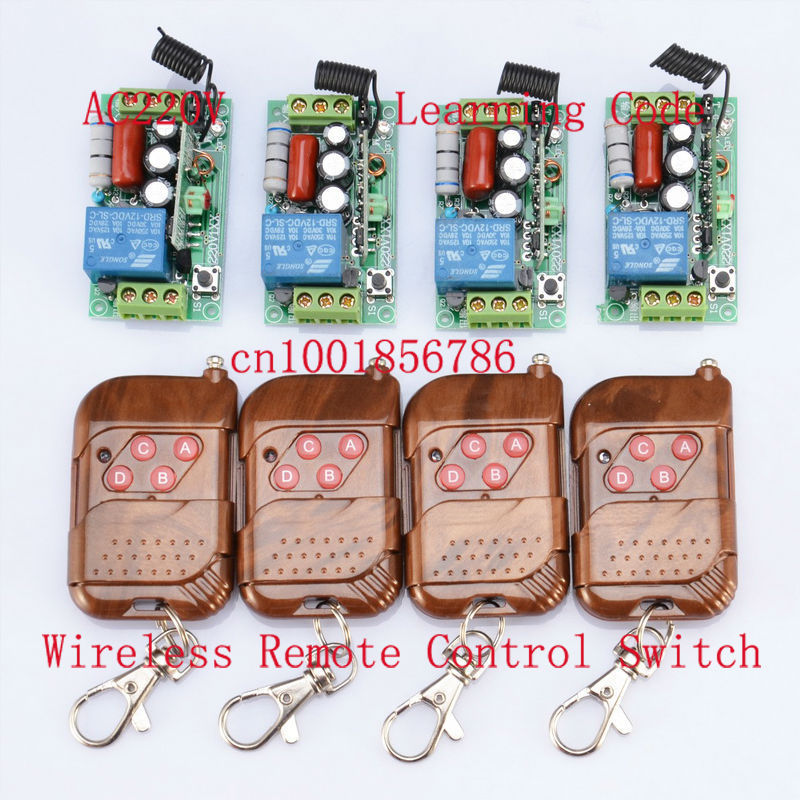 FreeShipping 4receiver And 4 transmitter 220V 1CH 1000W RF Wireless Remote Control System Latched light switch(China (Mainland))