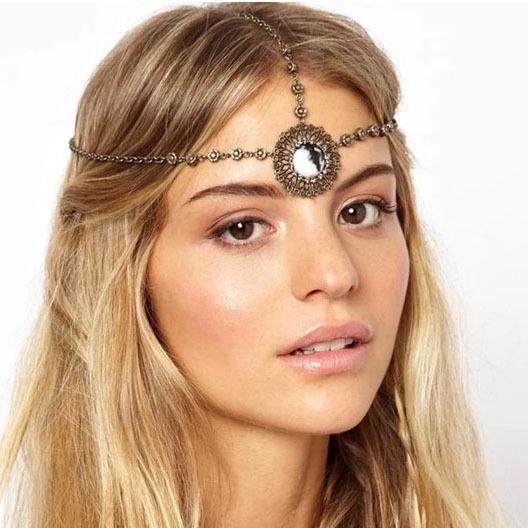 LEYU Metal Indian bohemia crystal Gmes hollow flowers tassel hair chain Hairbands head Chain HAIR jewelry gift for girlfriend(China (Mainland))