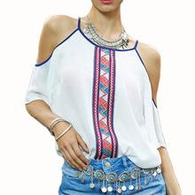 2017 Women White Chiffon Blouses Ladies Printed Off Shoulder Bohemian Shirts Tops Camisas Female Plus Size Women Clothing Shirt(China (Mainland))