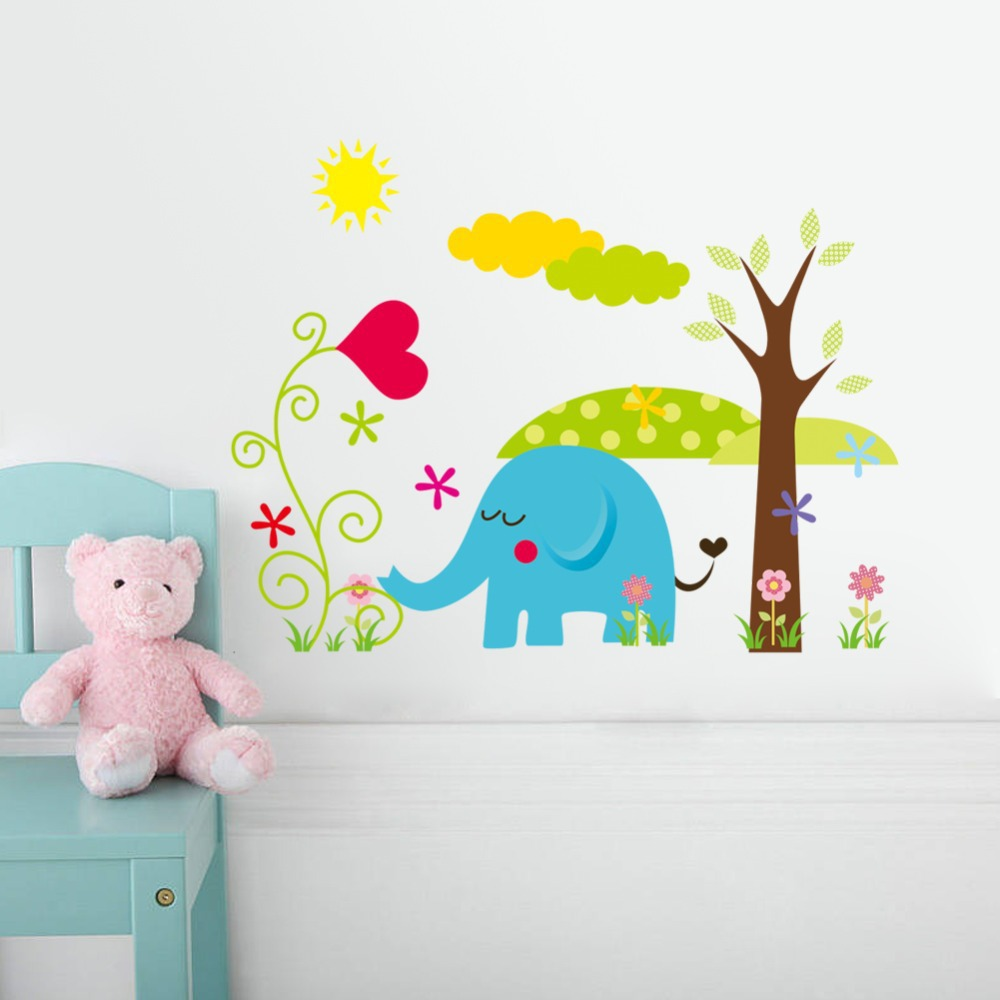 Cute Colorful PVC Removable happiness animal family of wall stickers and wall decals For home decoration adesivo de parede(China (Mainland))
