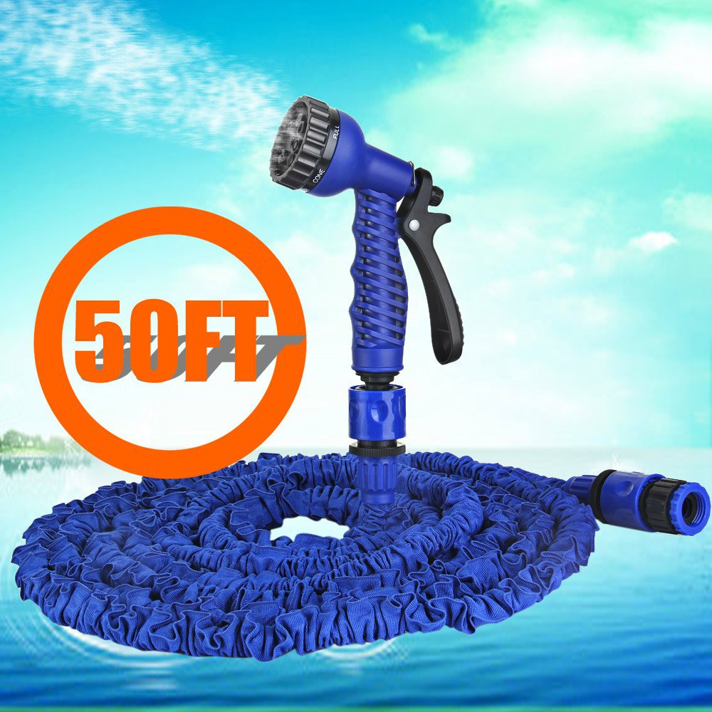 50FT Expandable Magic Garden Hose Water for Yard and Car Pipe Watering Plastic Connector with 7 in 1 Spray Gun Blue -15 Meters(China (Mainland))
