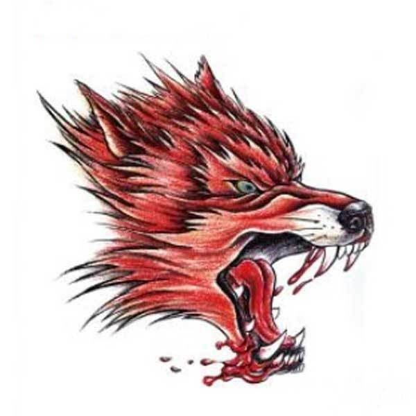 BitBill Cheap YCTF PRINTING Temporary Red Wolf Head Tattoo Transfer Body Art Sticker(China (Mainland))